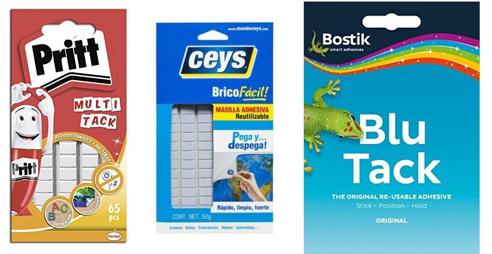 Although the original Blue Tack is from Bostik, there are many brands that sell the same type of product with similar names